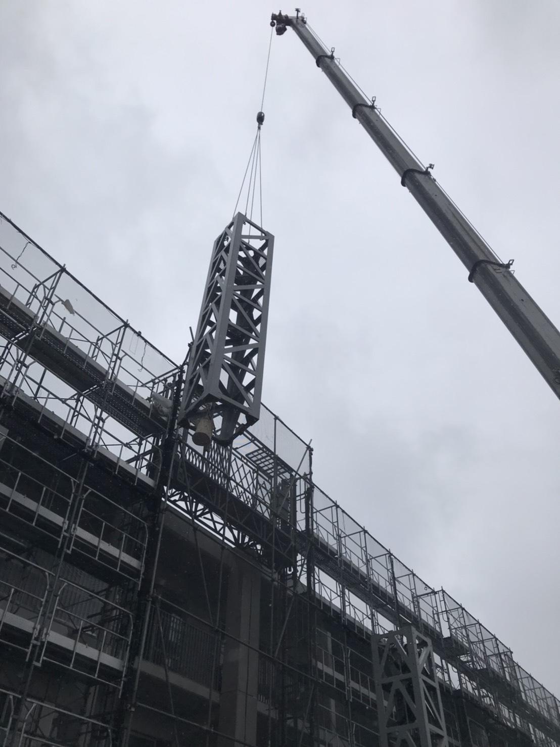 タワークレーン 解体中 施工事例